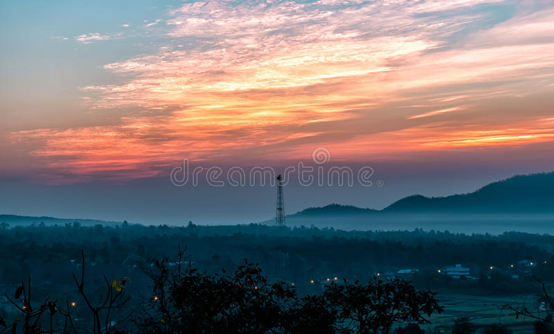 Beautiful sky sunset with orange light over nature colorful out royalty free stock photo