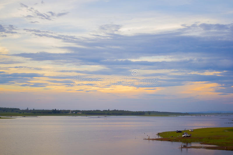 Beautiful sky sunset. At tropical Thai lake stock photography