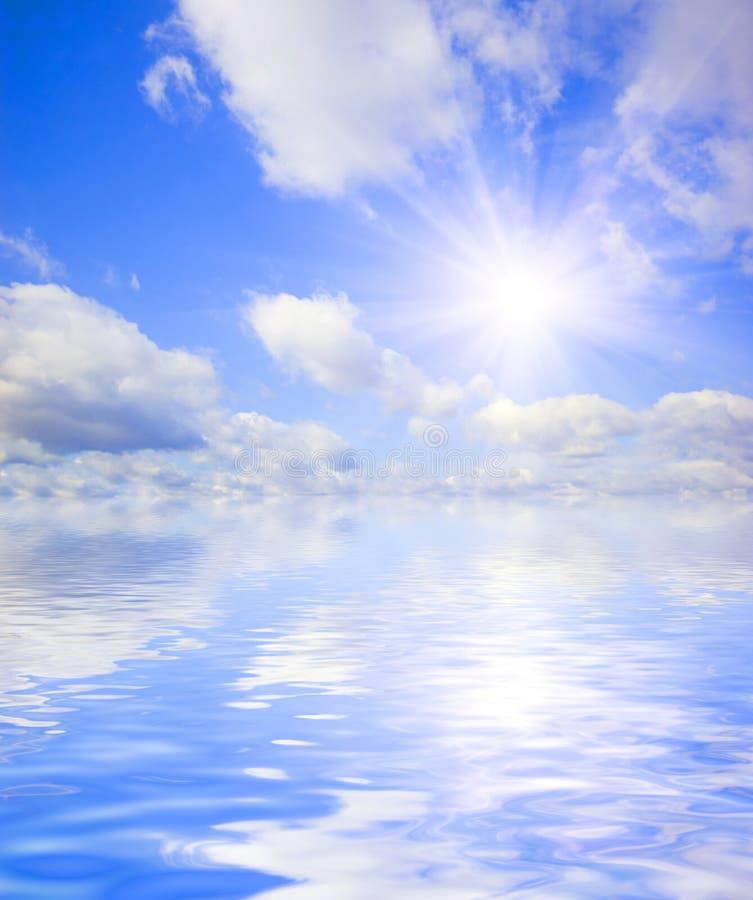 Beautiful sky with water reflection. Beautiful summer sky with water reflection stock image