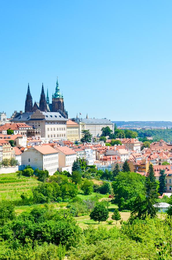 Beautiful skyline of Prague, the Czech capital, captured from the Petrin hill in the city center. Prague Castle and St. Vitus stock photos