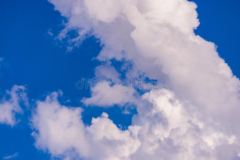 Beautiful skyview with clouds. Natural sky background, air, beauty, blue, cloudscape, cloudy, color, day, heaven, high, light, nature, weather, white, clear royalty free stock photography