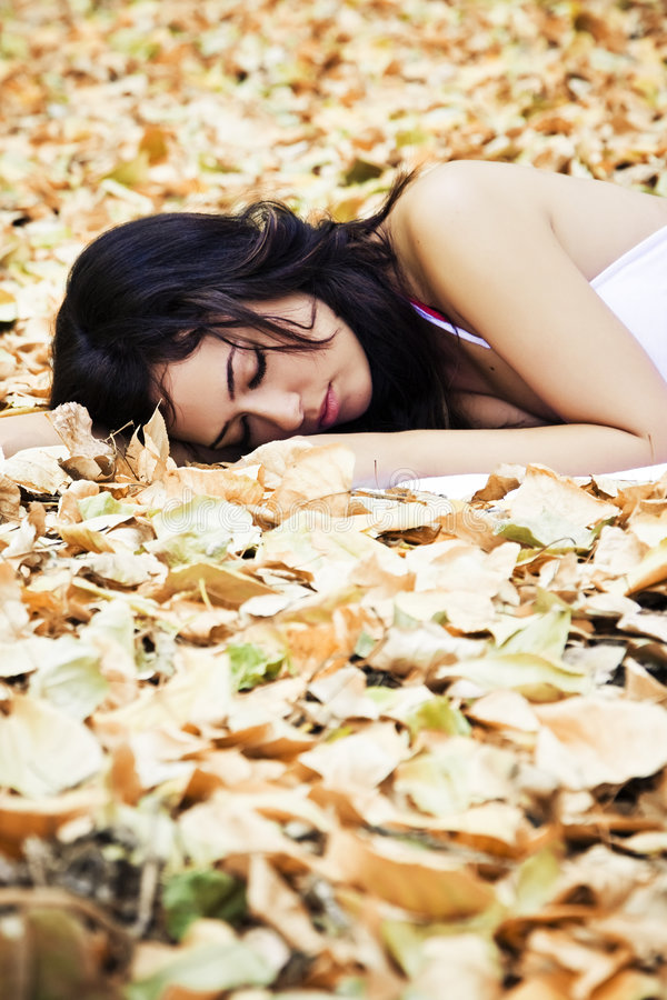 Beautiful sleeping woman royalty free stock photos
