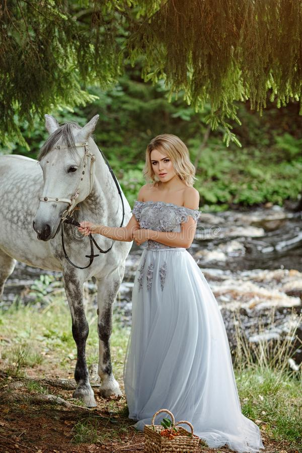 Beautiful slender blond girl in dress hugging a gray horse, outdoors in summer in the forest royalty free stock images