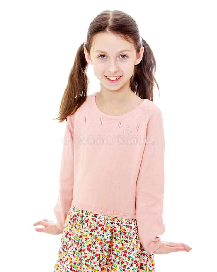 Beautiful slender girl stock photo