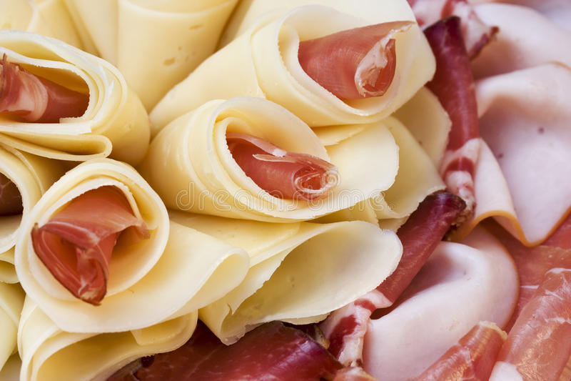 Beautiful sliced food arrangement stock photo