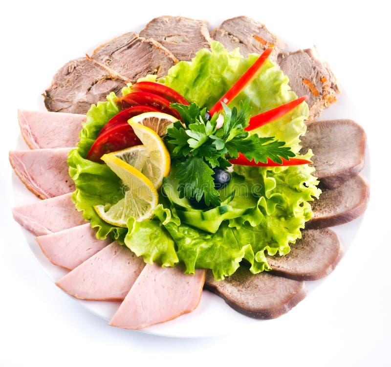 Beautiful sliced food arrangement stock image