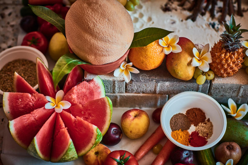 Beautiful sliced fruits arranged for vedic wedding stock photography