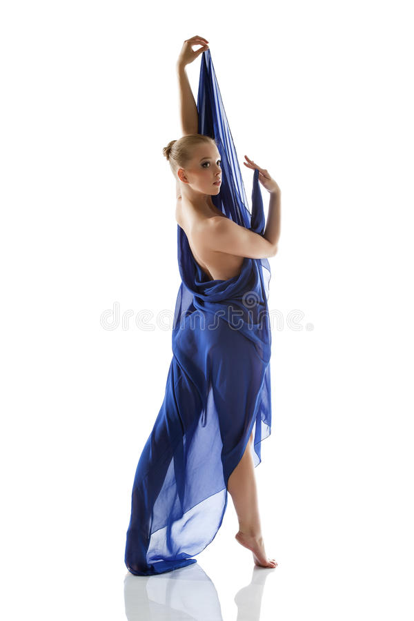 Beautiful Slim Model Posing With Blue Cloth Royalty Free Stock Photography