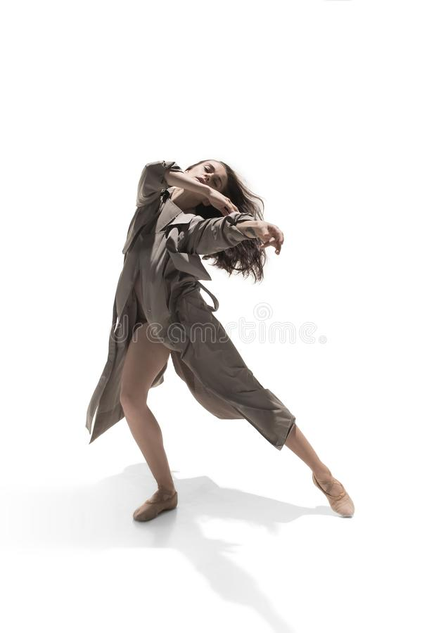 Beautiful slim young female modern jazz contemporary style ballet dancer stock image