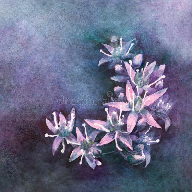 Beautiful small fluorescent flowers laid stock photography