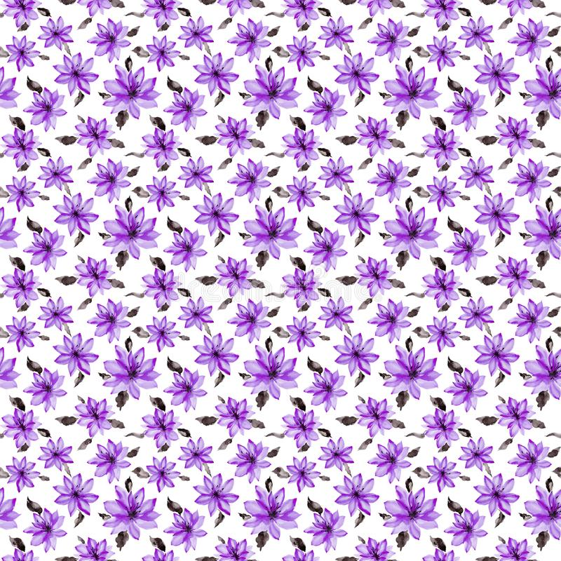 Beautiful small purple flowers with leaves on white background. Seamless floral pattern. Watercolor painting. Hand painted botanical illustration. Wallpaper stock illustration