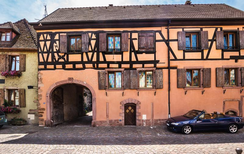 Beautiful small town Bergheim with half-timbered houses stock photos