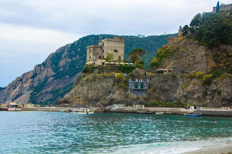 Beautiful small town of Monterosso in the Cinque Terre national Park. Italian colorful landscapes. Beautiful beaches on the coast royalty free stock image