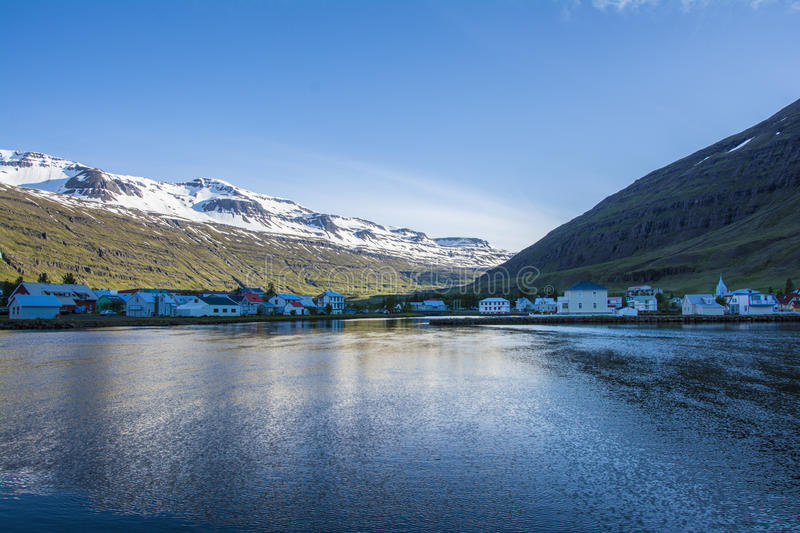 Beautiful small town Seydisfjordur on Eastern Iceland stock photography