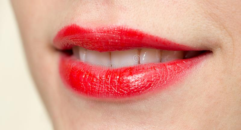 Beautiful smile with red lips royalty free stock photo