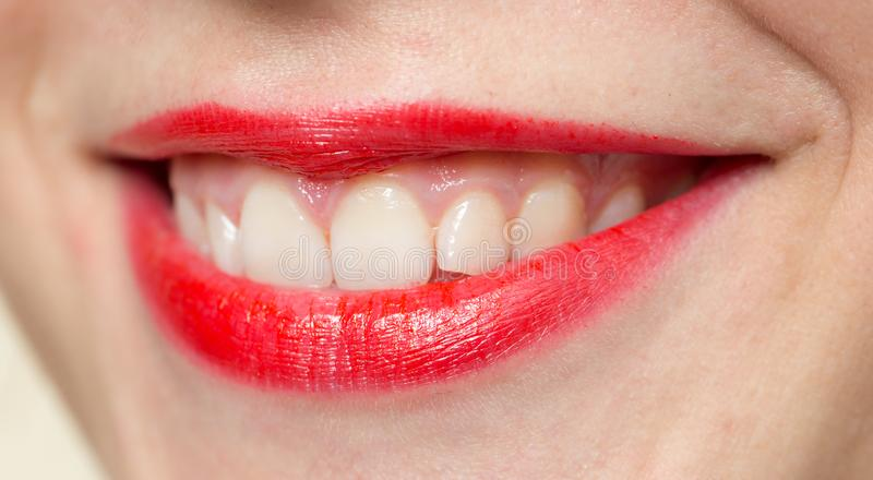 Beautiful smile with red lips royalty free stock images