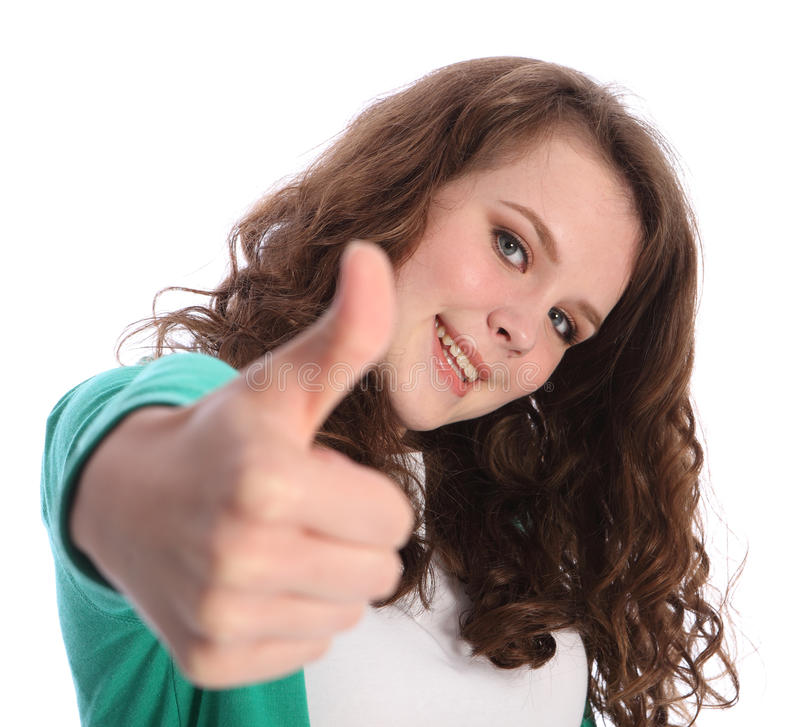 Beautiful smile of success by pretty teenager girl royalty free stock photo