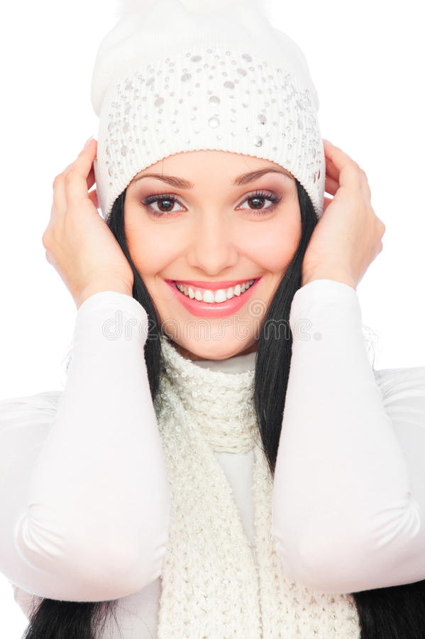 Beautiful smiley woman in white hat