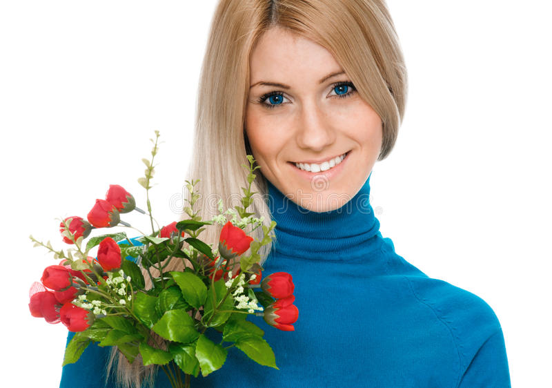 Beautiful smiling blonde woman with bouquet stock photos