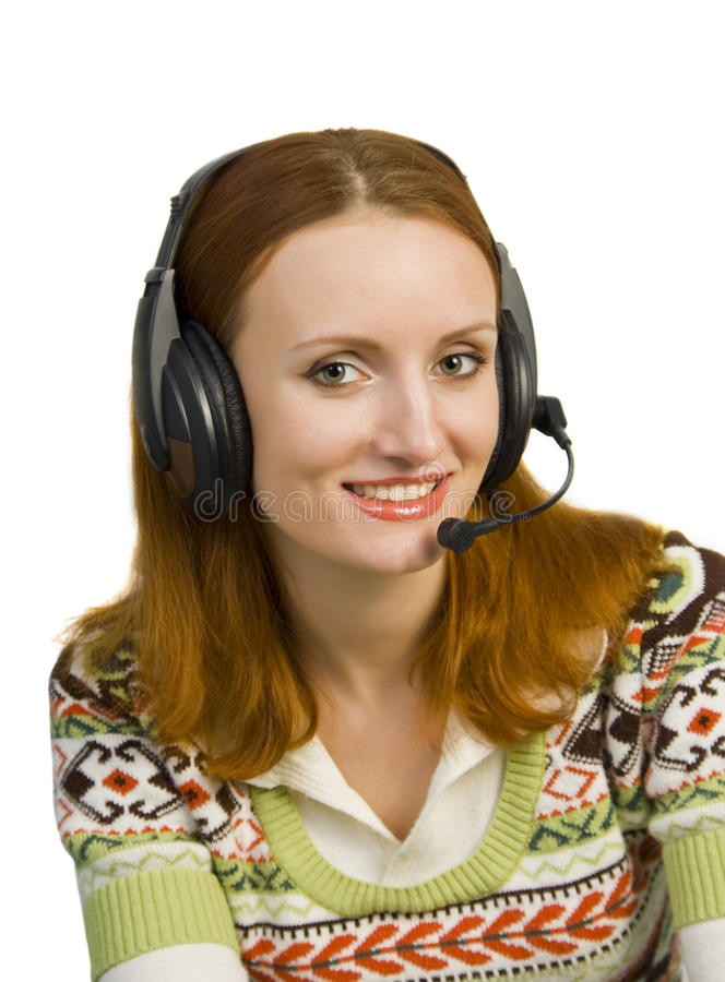 Beautiful Smiling Business Woman With Headset Stock Images