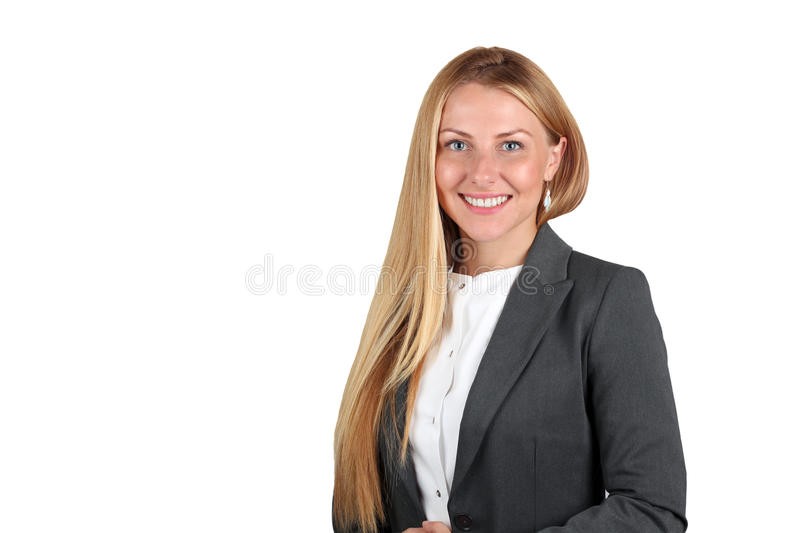 Beautiful smiling business woman portrait. Isolated on a white stock photo