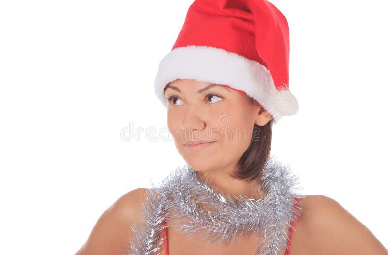 Beautiful smiling christmas santa woman stock photos