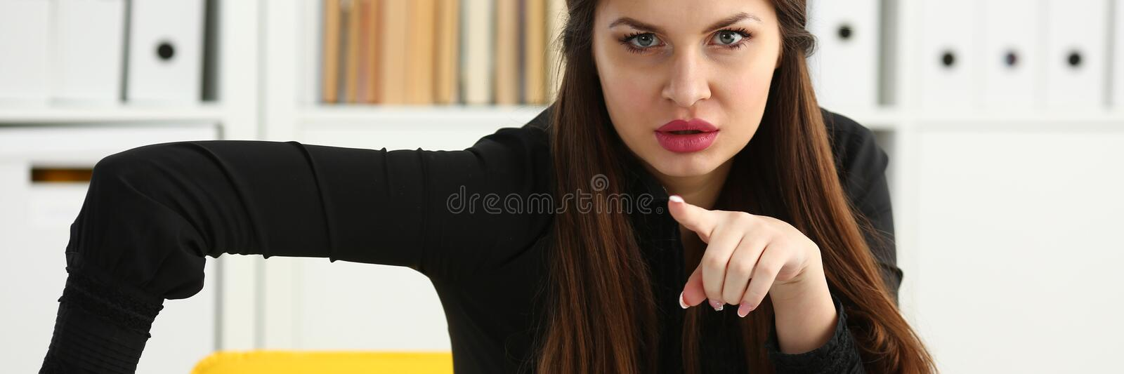 Beautiful smiling clerk girl at workplace talk to visitor. Looking in camera. White collar worker at workspace modern lifestyle client offer startup project irs stock images