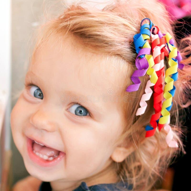 Beautiful smiling cute baby girl. stock photo