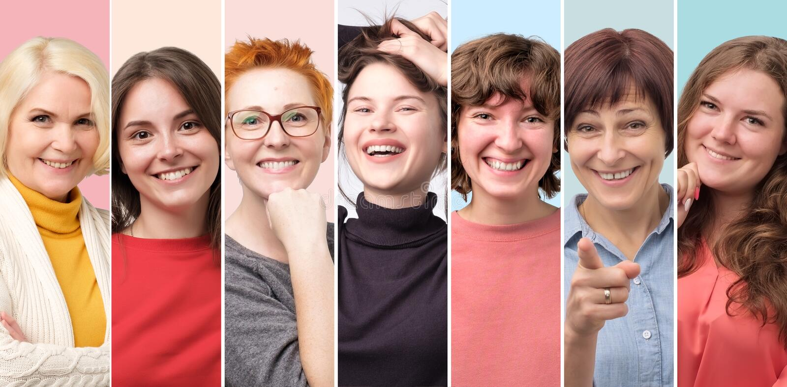 Beautiful smiling female face only collage. Positive emotion stock photo