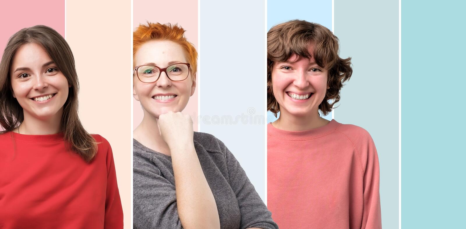 Beautiful smiling female face only collage. Positive emotion royalty free stock photography