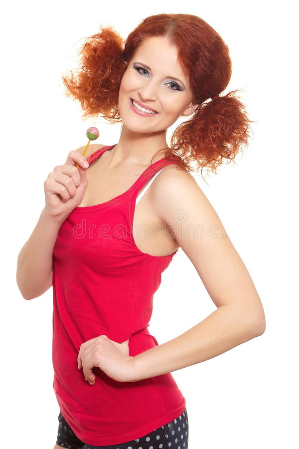 Download Beautiful Smiling Ginger Woman In Red Cloth Stock Photo - Image: 24087030