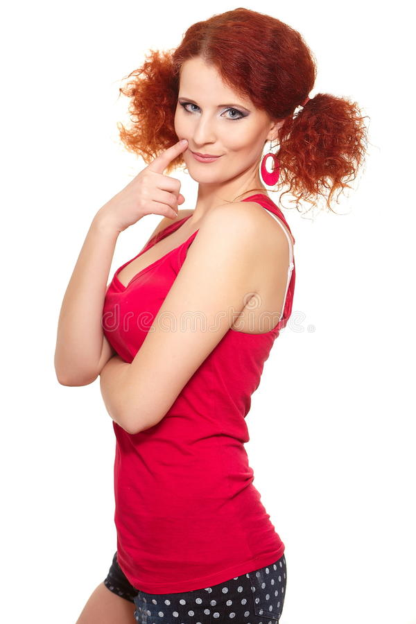 Download Beautiful Smiling Ginger Woman In Red Cloth Stock Photo - Image: 24087080