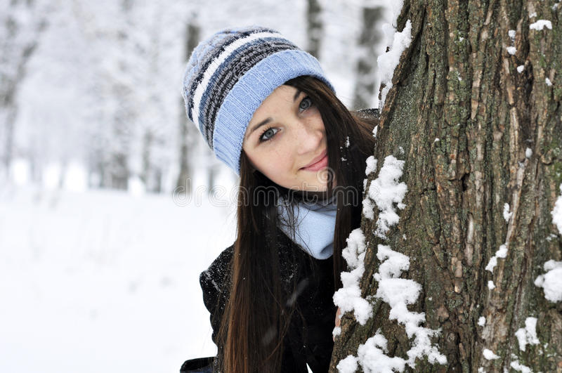 Download Beautiful smiling girl stock photo. Image of beanie, outdoor - 22977210