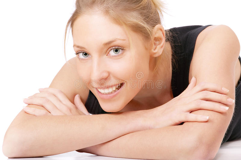 Beautiful Smiling Girl In Black Vest Royalty Free Stock Photo