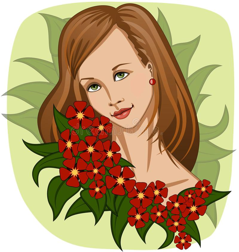Beautiful smiling girl with garland of exotic red flowers and green leaves vector illustration