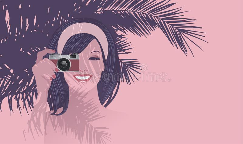 Beautiful smiling girl holding a retro photo camera under a palm tree. vector illustration