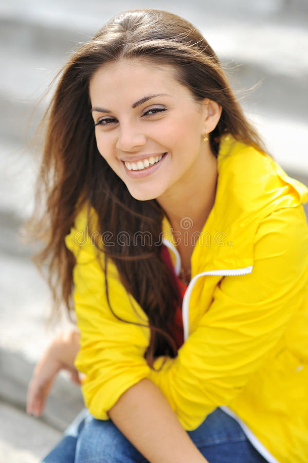 Beautiful smiling girl portrait closeup stock images