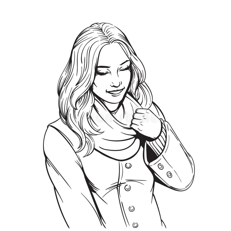 Beautiful smiling girl in scarf adult coloring page royalty free stock images