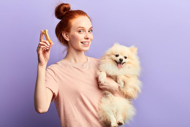 Beautiful smiling red-haired girl holding adorable pet and bone. And looking at the camera. close up portrait, isolated blue background, studio shot, dog`s care royalty free stock photography