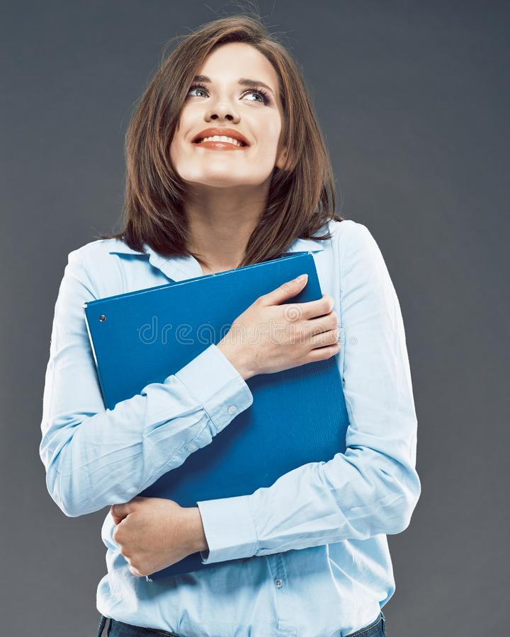 Beautiful smiling student girl hold office paper folder royalty free stock photo