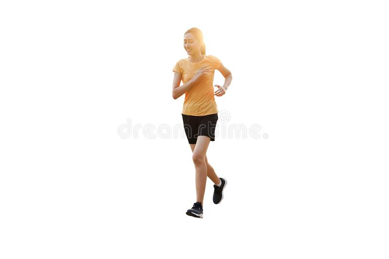 Beautiful smiling thai women is jogging, running isolated on  background. stock illustration