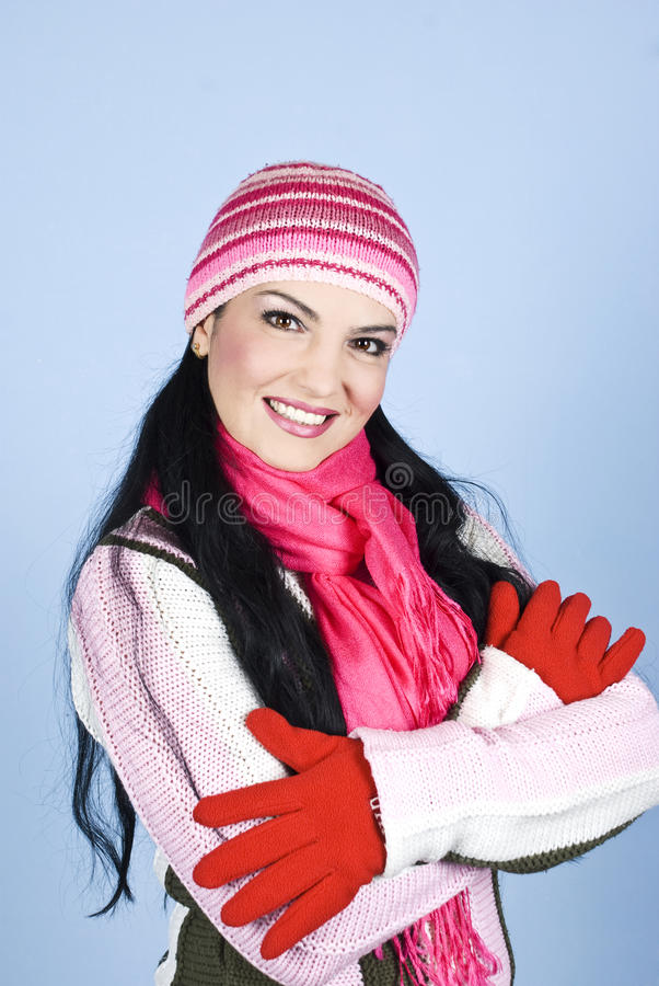Download Beautiful Smiling Winter Woman Stock Image - Image of crossed, gladness: 12008073