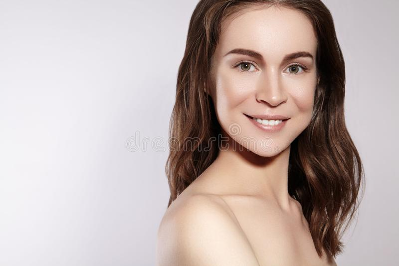 Beautiful Smiling Woman with Clean Skin, Natural Make-Up. Joyfull and Happiness. Emotional Female Face. Health, Wellness stock photos