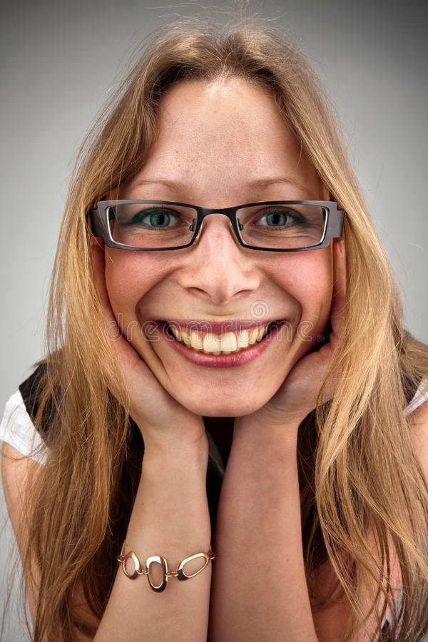 Beautiful Smiling Woman In Glasses Stock Photo - Image of ...