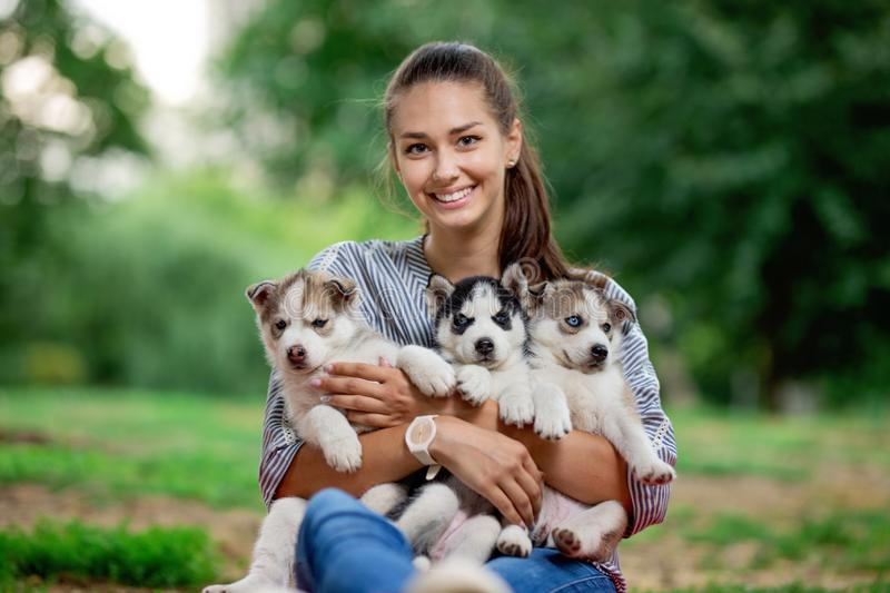 A beautiful smiling woman with a ponytail and wearing a striped shirt is holding three sweet husky puppies on the lawn royalty free stock image