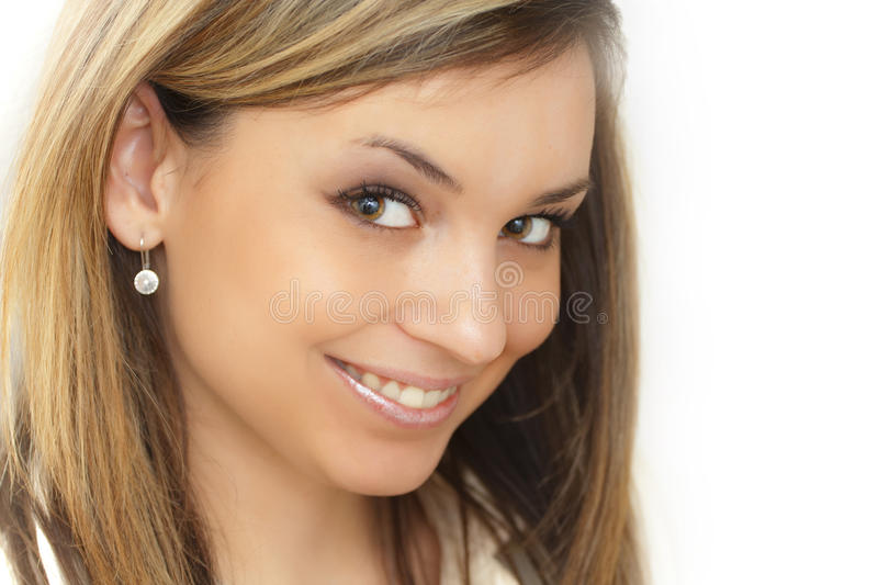 Beautiful smiling woman portrait with jewelery royalty free stock photos