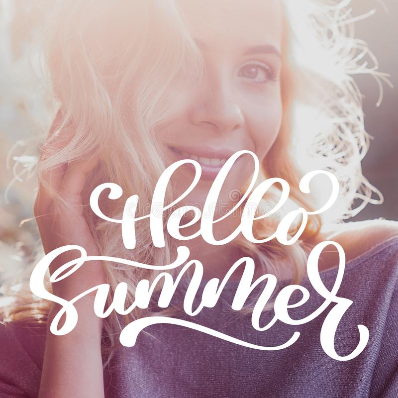 Beautiful smiling woman. Template for social networks instagram story. Hand drawn Motivation Quote text Hello Summer on photo. Nature sea background stock illustration