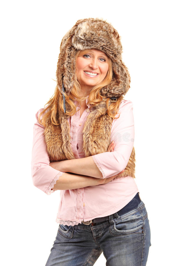 Download Beautiful Smiling Woman Wearing Fur Hat Stock Photos - Image: 26968973
