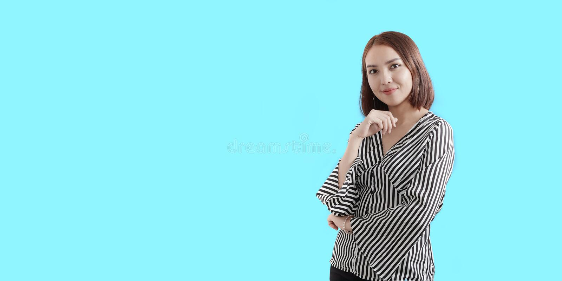 Beautiful smiling young Asian woman stock photos