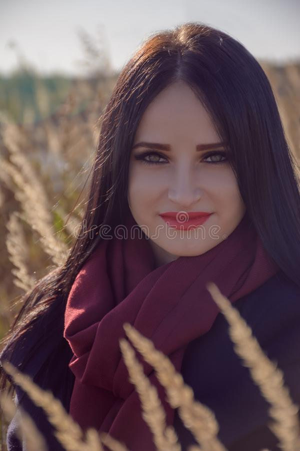 Beautiful smiling young woman with long eyelashes royalty free stock image
